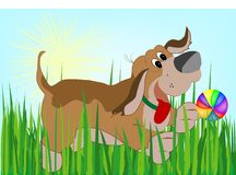 Dog. Happy dog in grass with ball stock illustration
