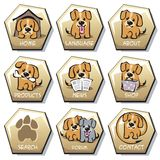 Dog. Vector illustrations of buttons of different functionality with the image of a dog Stock Image