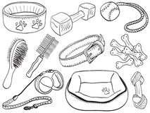 Dog accessories - pet equipment illustration Royalty Free Stock Images