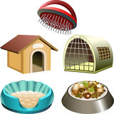 Dog accessories set. Illustration with dog accessories set including kennel, box, bed, comb and bowl drawn in cartoon style Royalty Free Stock Image