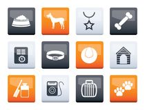Dog accessory and symbols icons over color background stock photos
