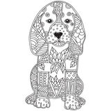 Dog adult antistress or children coloring page. Hand drawn animal doodle. Sketch for tattoo, poster, print, t-shirt . Vector illustration Royalty Free Stock Photos
