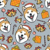 Dog Akita Head 02. Dog Christmas vector illustration seamless pattern. Year of the dog concept. Akita iny vector illustration