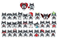 Dog Alaskan Kli Kai breed sitting. Big set of 31 different little dogs. Brown puppies with different emotions royalty free illustration