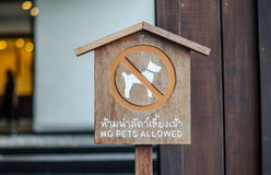 Dog allowed sign , English and Thailand language si Stock Photography