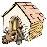 Dog Alone in Doghouse Stock Images