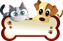 Free Dog And Cat With Banner Royalty Free Stock Photography - 19713237
