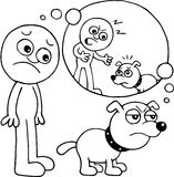 Dog is Angry. Hand drawn cartoon of dog angry over scolding by master Royalty Free Stock Photos