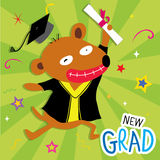 Dog Animal Congratulation New Graduate Cute Cartoon Vector Stock Image