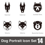 Dog, animal face character icon design set Royalty Free Stock Images