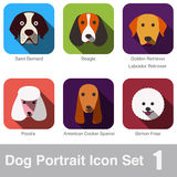 Dog, animal face character icon design set Stock Images