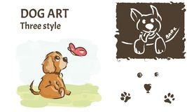 Dog art for t-shirt. Drawn style. vector illustration