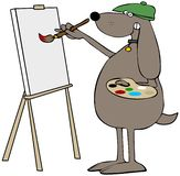 Dog artist painting on canvas. Illustration of a dog wearing a beret and painting on a canvas while holding a brush and palette vector illustration