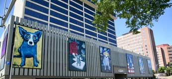 Dog Artwork in Downtown Memphis, TN. Images of dogs in various colors painted on the side of buildings near Downtown Memphis, Tennessee Stock Photo