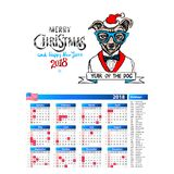 Dog as santa portrait calendar 2018 design, The year of the dog monthly cards templates, Set of 12 month, Vector illustrations. Art Royalty Free Stock Image