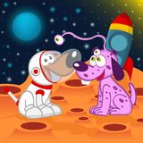 Dog astronaut and alien Stock Photo