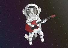 Dog astronaut playing red guitar vector illustration