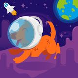 Dog astronaut. Very cute smile orange energy dog in space suit first astronaut which make a flight in free dark spice between stars cosmic clouds. Run on another Royalty Free Stock Photos