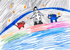 Dog astronauts. child drawing. Dog astronauts. childs drawing stock images