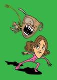 Dog attacks girl. Dog, Girl, Illustration, Attack, Teeth, Bark, Growl, Danger, Little, Green, Brunette, Pink, Tracksuite, Jump Stock Photo