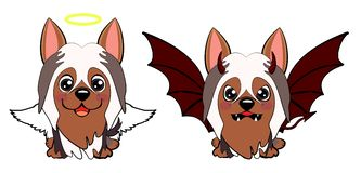 Devil Dog with horns and bat wings and happy dog angel. Dog Australian Silky Terrier Cartoon. Devil Dog with horns and bat wings and happy dog angel stock illustration