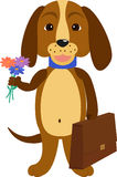 Dog back to school. Illustration of a cartoon puppy Royalty Free Stock Photography