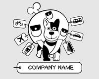Dog with backpack. Dog traveler. The company's logo Royalty Free Stock Photos