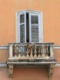 Dog on balcony. A dog in the old balcony in Istria, Croatia royalty free stock photo