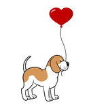 Dog with a balloon royalty free illustration