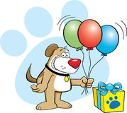Dog with balloons Stock Photo