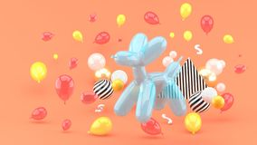 Dog balloons are among the colorful balloons on the pink backgroun stock illustration
