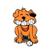 Dog with balls in the mouth. N.Cartoon illustration royalty free illustration