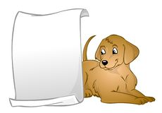 A dog with a banner. A dog lying on the floor behind a blank banner Royalty Free Stock Image