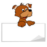 Dog with Banner. Cartoon dog with a blank banner Stock Illustration