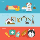 Dog Banner Set. Dog horizontal banner set with walking puppy care flat elements isolated vector illustration Royalty Free Stock Photos