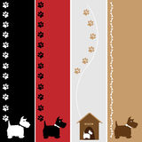 Dog Banners. A set of four cute terrier dog banners with paw prints and bones stock illustration