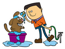 Dog bath. Cartoon illustration of a brown dog being washed by a young man vector illustration