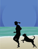 Dog on Beach. A woman and her dog are running along the beach Stock Photos
