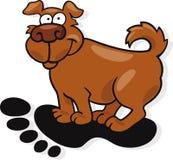 Dog in big human footprint Royalty Free Stock Photos