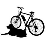 Dog and Bike Silhouette Royalty Free Stock Images