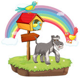 Dog and birdhouse. Illustration of a dog and a birdhouse Royalty Free Stock Photo