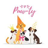 Dog Birthday party greeting card. Vector  cartoon style illustration of Dog party greeting card with dogs with festive cone hats on white background Stock Image