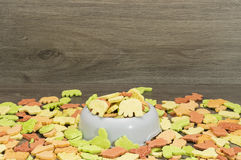Dog biscuit. Bowl with biscuit for dog Royalty Free Stock Image