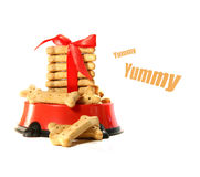 Dog Biscuits In Bowl With Bow Royalty Free Stock Photos