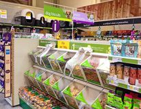 Dog biscuits in a pet store. Royalty Free Stock Images