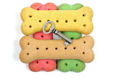 Dog biscuits and silver key Stock Photo