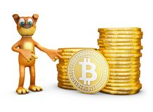 Dog with bitcoin. The dog points to coins of bitcoin. 3d rendering Royalty Free Stock Photos