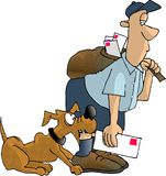 Dog bite 2. This illustration that I created depicts a mailman being bitten by a dog Stock Photo