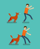 Dog bite man. Cartoon vector illustration Royalty Free Stock Images
