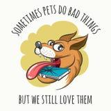 Dog Bites Cell Phone royalty free illustration